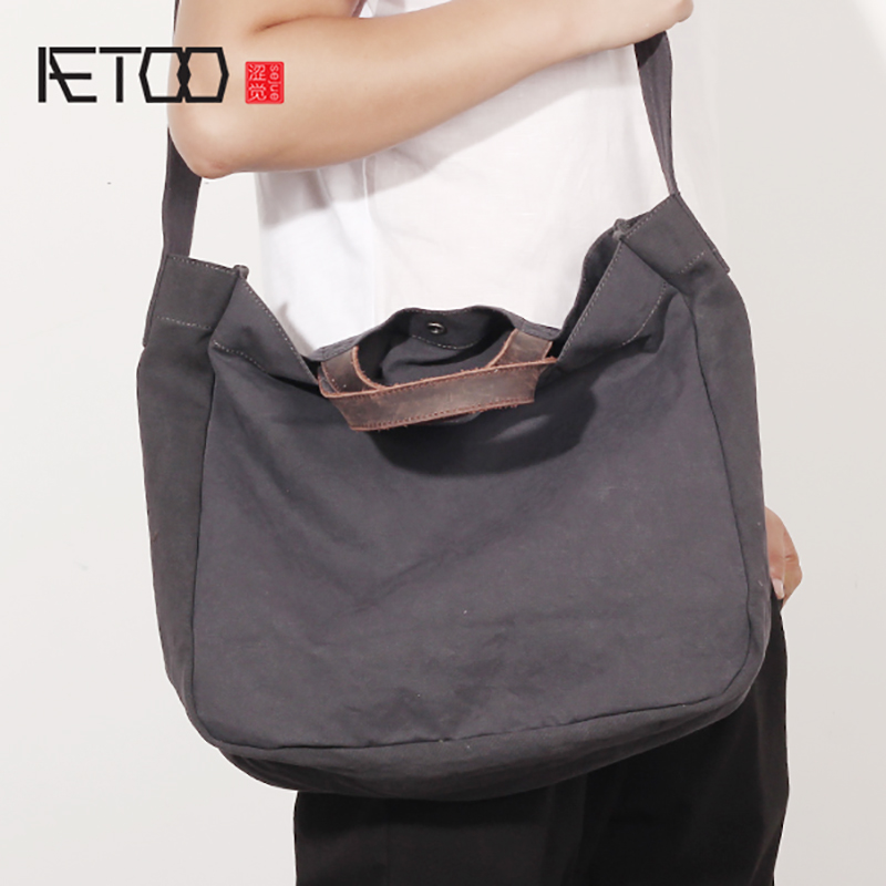 AETOO Literary Canvas bag men s singles shoulder oblique cross pack large capacity simple handbag male