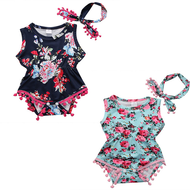 8cd118d16 Summer Children Girl Clothes Set Flower Ball Tassel Romper Baby Girl floral  Headband 2pcs