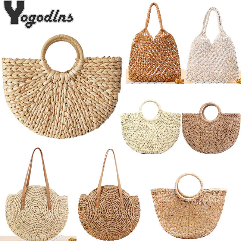 Vintage Straw Bag Round Rattan Bags Handmade Summer Bags Woven Beach Ladies Circle Shoulder Bag Bohemia Girls Travel Handbags(China)