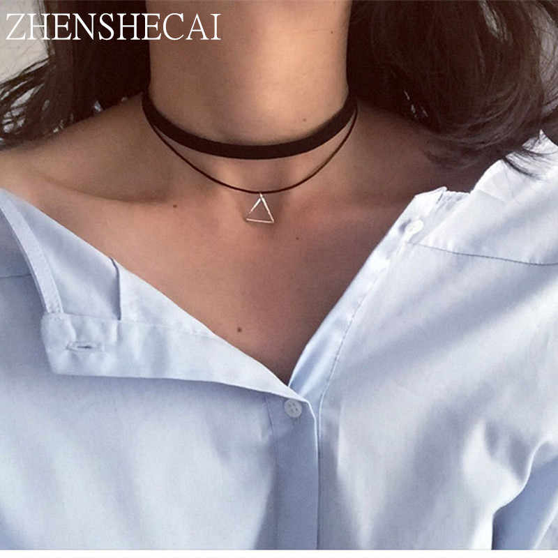 Fashion statement necklace simple geometric metal pendant gothic choker necklace for women Collier Femme jewelry wholesale x159