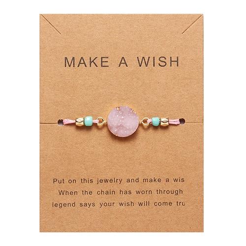 Rinhoo загадать пожелание Красочный натуральный камень тканый бумажный браслет карта Регулируемый счастливый красный String браслеты Femme модные ювелирные изделия - Окраска металла: 3