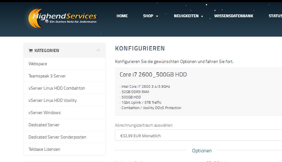 羊毛党之家 HighEnd Services:€26/月/i3-6100/16GB内存/1TB硬盘/5TB流量/DDOS/德国