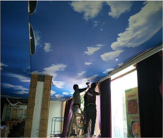 Factory Fireproof Printed Stretch Ceiling Film,New 3D UV Printed PVC Stretch Ceiling Film.