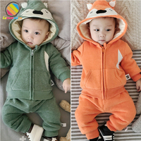 Lemonmiyu Baby Girl Clothing Sets For Newborn Cartoon Winter Plus Velvet Warm Baby Set Boy 0 24M Thicken Hooded Unisex Outifts
