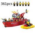 Enlighten 909 361 unids barco bomberos policía diy conjuntos de bloques de construcción eductional bloques juguetes bringuedos diy