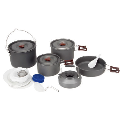 Feu D'érable En Plein Air Voyage 5 Pcs/ensemble 6-7 Personnes Camping Vaisselle Pot de Pique-nique vaisselle Bol campismo Bouilloire FMC-212
