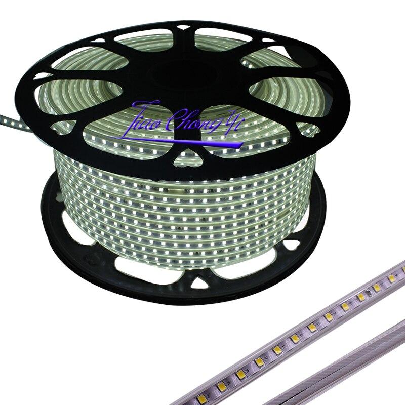 220VAC Светодиодная лента 2835 100 светодиодов/м IP67 водонепроницаемая с адаптером питания гибкая светодиодная лента наружная 50 м/рулоны, 100 м/руло... - 3