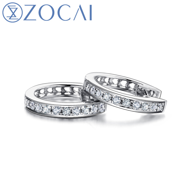 ZOCAI Earring 0.12 CT Real Diamond Genuine 18K White Gold (Au750) Hoop Earrings Fine Jewelry E00951