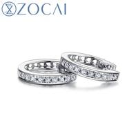 ZOCAI Earring 0.12 CT Real Diamond Genuine 18K White Gold (Au750) Hoop Earrings Fine Jewelry E00951