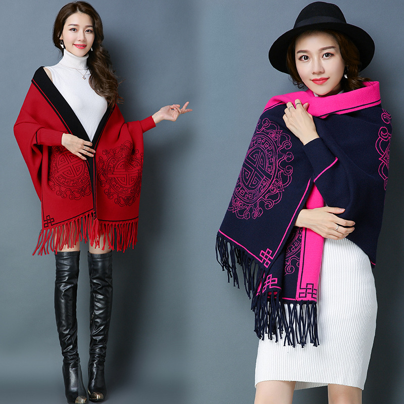 5807 New Fashion Tassel Scarf Cape Womens Sweater Knitted Coat Ponchos And Capes Designer Scarf Women Luxury 2018 Complete Range Of Articles Apparel Accessories
