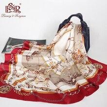 2019 Women Square Scarf Silk Print Foulard Satin Head Scarves Luxury Designer Shawls 90*90cm Bandana Large Hijab