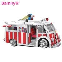 Bainily 1000pcs Dream Car Technic Series Ice Cream Car Building Blocks Bricks Toys Gift For