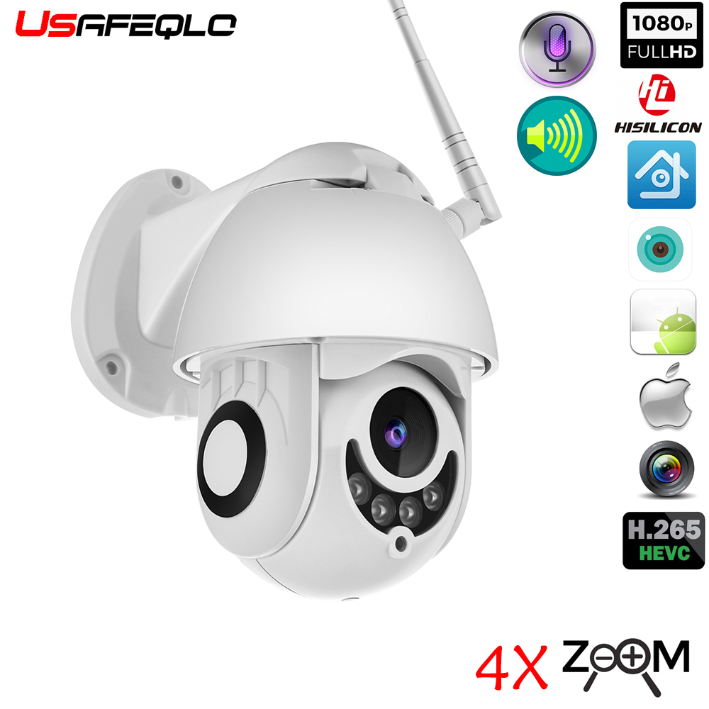 USAFEQLO 4x 1080P Wireless IP Camera Pan/Tilt Two Way Talk 2MP MINI Wifi Security CCTV Camera TF Slot Outdoor Indoor Waterproof