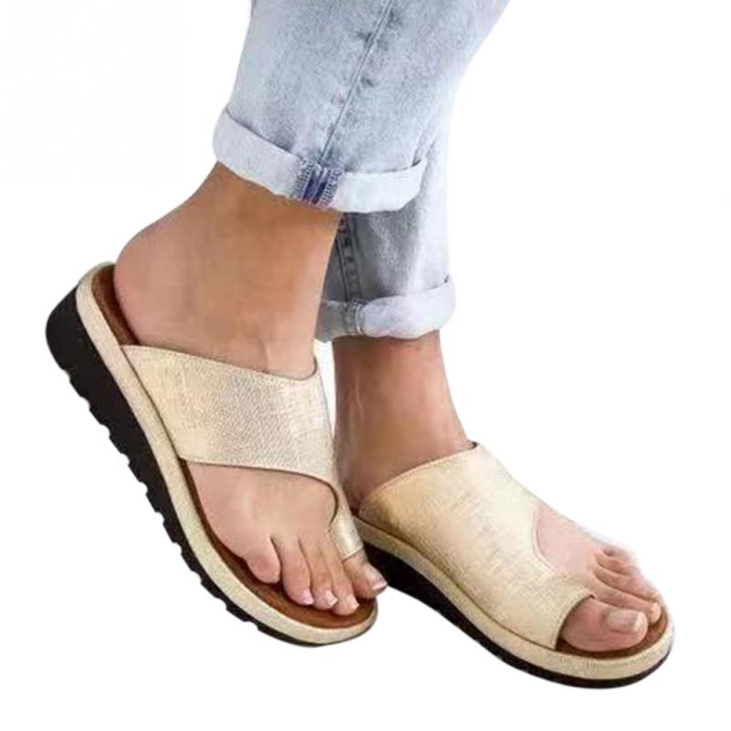 dcf7d33eaf0 US $12.73 49% OFF|sandals women Orthopedic Bunion Corrector Shoes Leather  Comfy Platform Flat Sole Ladies Casual Big Toe Foot Correction Sandal-in  Low ...