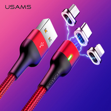 USAMS Magnetic Cable For iphone 7 Micro Usb Type C Fast Charging Adapter Microusb Type-C Magnet Charger Usb C For Samsung Xiaomi цена