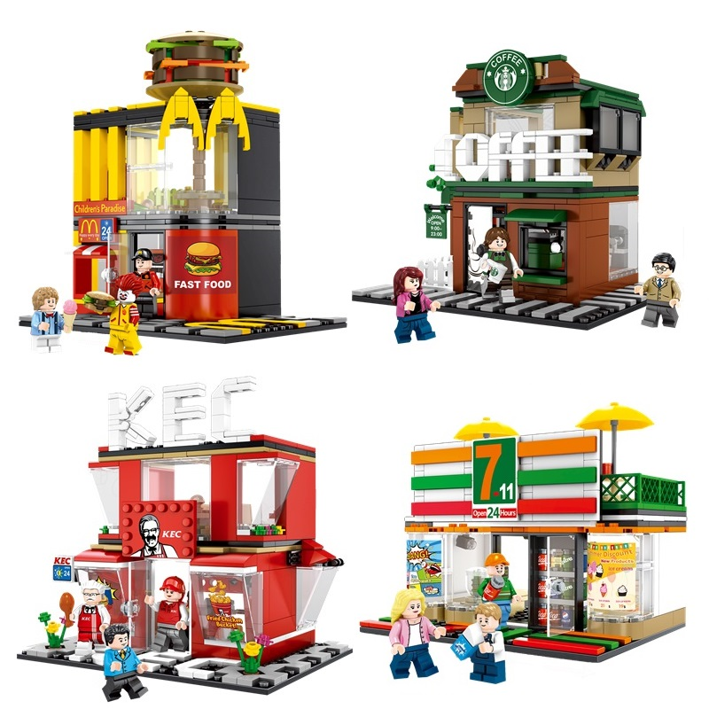 4 Sets Mini City Street Coffee Shop Hamburger Store Building Blocks Compatible Legoings City DIY Bricks Toys For Children Gifts compatible lepin city mini street view building blocks chinatown satin silk store with saleman figures toys for children gift