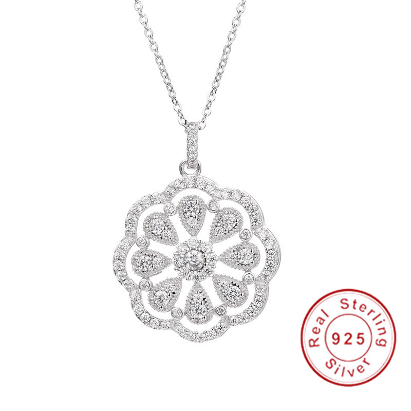 Hot Sell 925 Sterling Silver Flower Necklaces Pendants With High Quality SONA Diamond For Women Birthday Gift Cocktail Jewelry