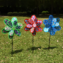 Colourful Double Layer Peacock Laser Sequins Windmill Wind Spinner Home Garden Decor Yard Kids Toy