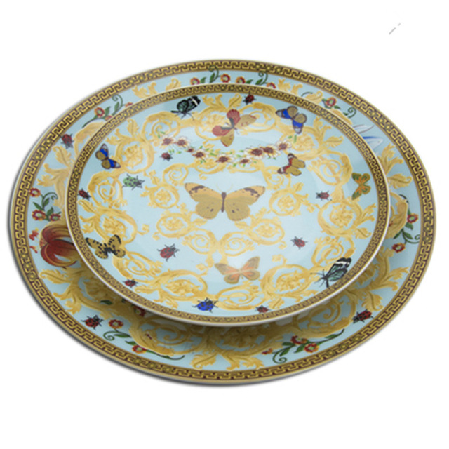 European Butterfly Bone China Western Dish Plate Beautiful Ceramic Tableware Hotel Decorative Plate For Dessert Steak Snack in Dishes Plates from Home Garden