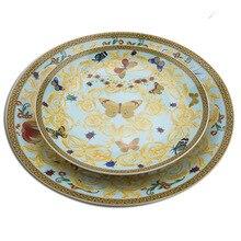 Европейская бабочка костяного фарфора западное блюдо тарелка красивое керамическое столовое оборудование Отель декоративная тарелка для десерта, стейк, закуски