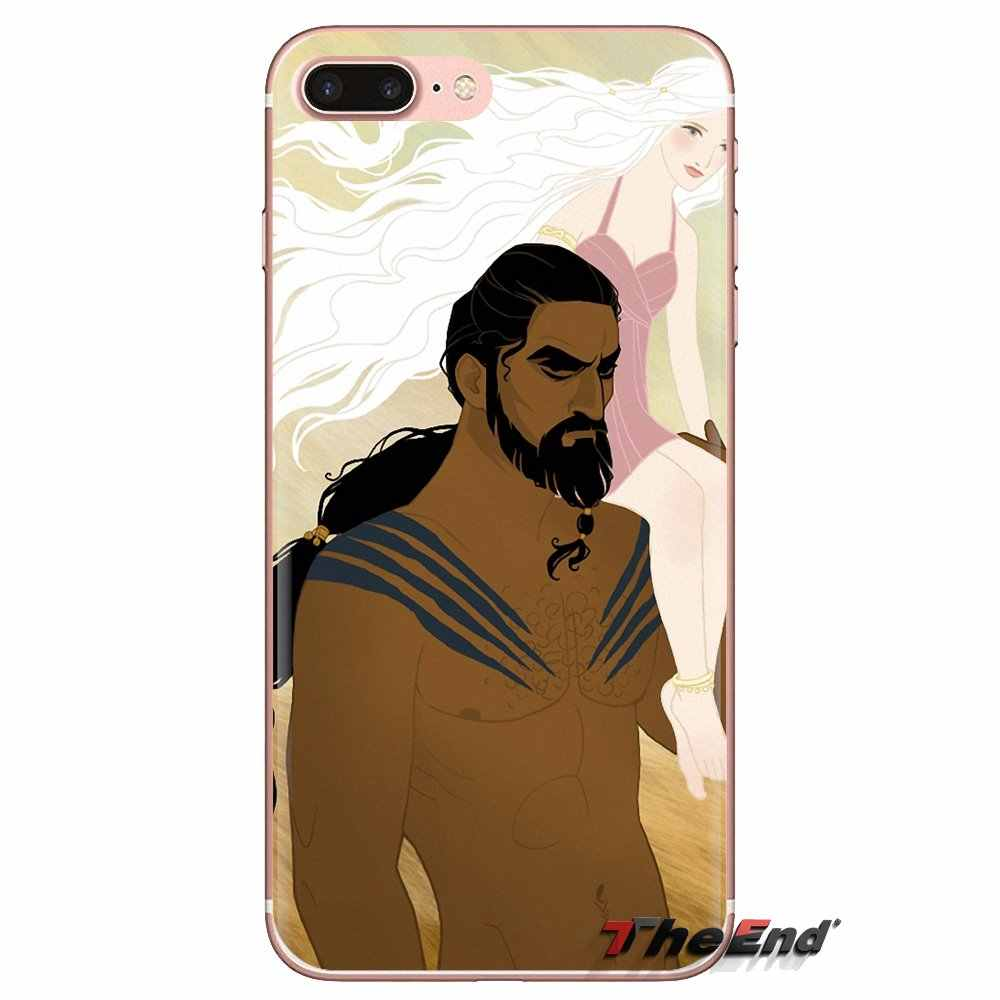 Cho Ipod Cảm Ứng iPhone 4 4S 5 5S SE 5C 6 6S 7 8 X XR XS Plus MAX Silicone Túi Điện Thoại Ốp Lưng Daenerys Khal Drogo Trò Chơi của Ngai Vàng