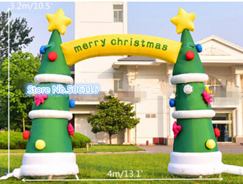 4m Outdoor Decoration Christmas Inflatable Arch,Inflatable Christmas Tree without Light