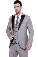 Latest Coat Pant Designs Light Grey Men Suit Slim Fit Skinny 3 Piece Tuxedo Custom Gentle Groom Blazer Prom Suit Terno Masculino