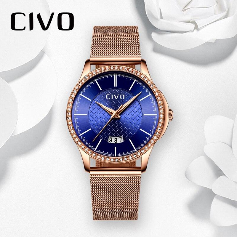 CIVO Luxury Top Brand Quartz Watch Teenager Student Crystal Watches Business Casual Wristwatch Gift For Women Zegarek Damski