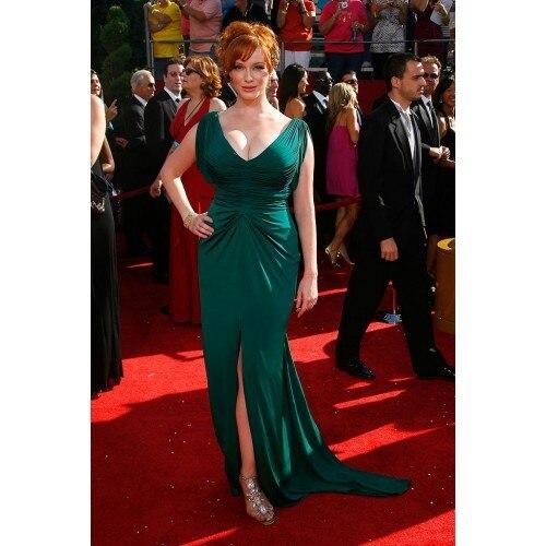 Christina Hendricks Green V-neck gown 2012 Emmy Awards Red Carpet celebrity Evening  dresses Prom gowns 0061e7e6ecdc