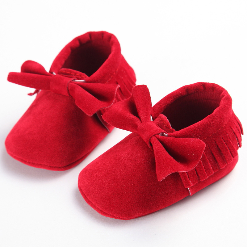 Bow Baby Moccasins shoes Soft sole fringe baby girls shoe Newborn Infant first walker Anti-slip Baby Shoes free shipping