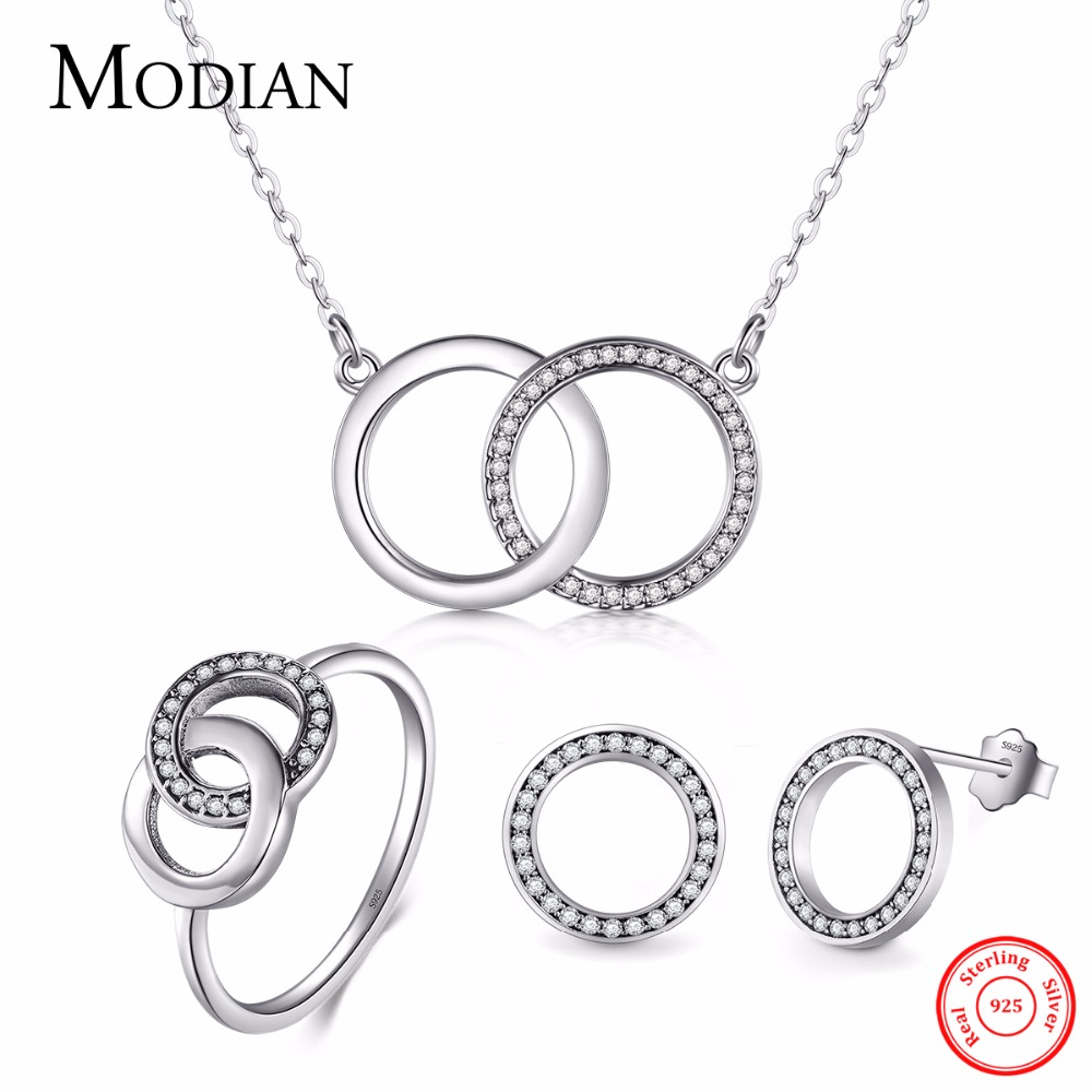 Modian Genuine 925 Sterling Silver Simple Round Sets Vintage Fashion Ring Classic pendant Necklace For Women Wedding Jewelry цена 2017