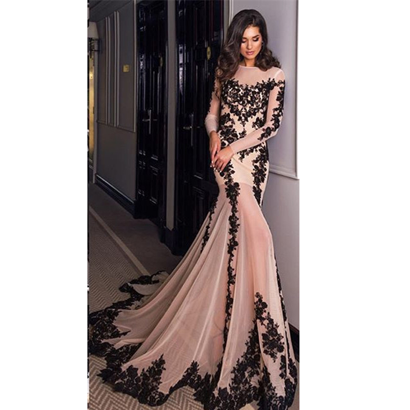 Fashion Appliques Evening Dresses Long Sleeve Floor Length Chiffon ...
