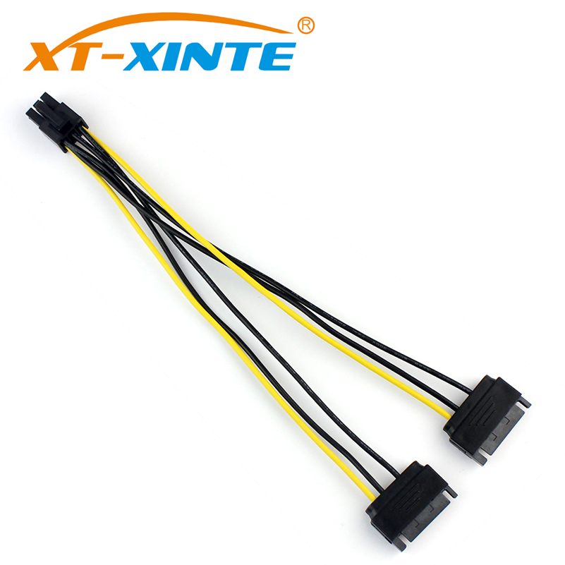 XT-XINTE Power Cable Dual SATA 15Pin Male to 6 Pin Female PCI-e Express Card Graphics Video Extension Cables Wire 20cm for Miner debroglie 1pcs brand new full height gt210 real 1gb ddr3 pci express graphics video card