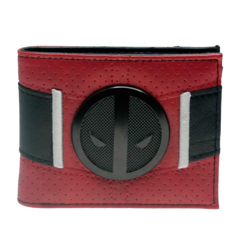 Red/black embroidery Deadpool Bi-Fold Metal badge Men Wallet Women Purse DFT-3073
