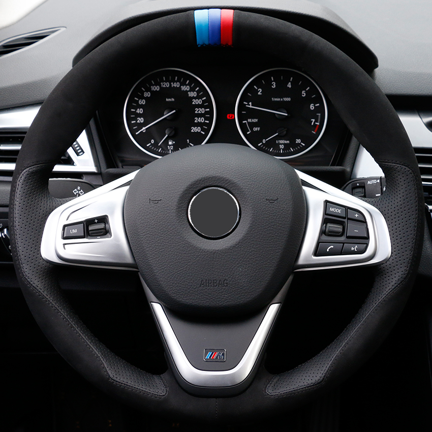 Hand sewing custom Black Suede Leather Car Steering Wheel Cover for BMW 220i 218i 225xe