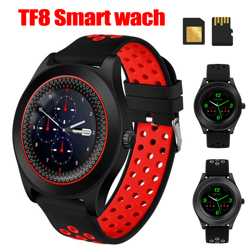 TF8 Sports Fitness Tracker Watch Round Smart Watch Phone Smartwatch Bluetooth Android Wristwatch Support Sim Memory Card