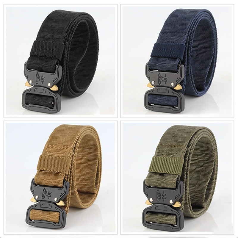 Casual Kniting Belt New 3.8cm Men Women Tactical Belt Military Training Belt Nylon 120cm Cobra Buckle Grid pattern