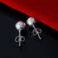 Promotion Sale Silver Fashion Earrings Silver 8MM Beads Studs Earrings Women Earrings Jewelry Accessories