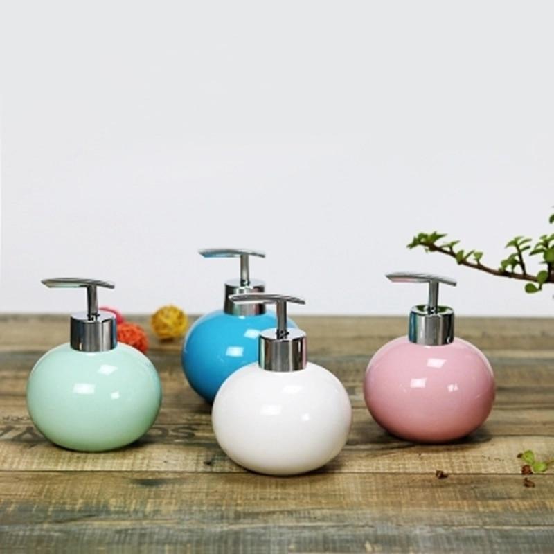 300ml Ball shape ceramic Liquid Soap Dispensers pump shower shampoo bottle hand sanitizer container Bathroom Accessories