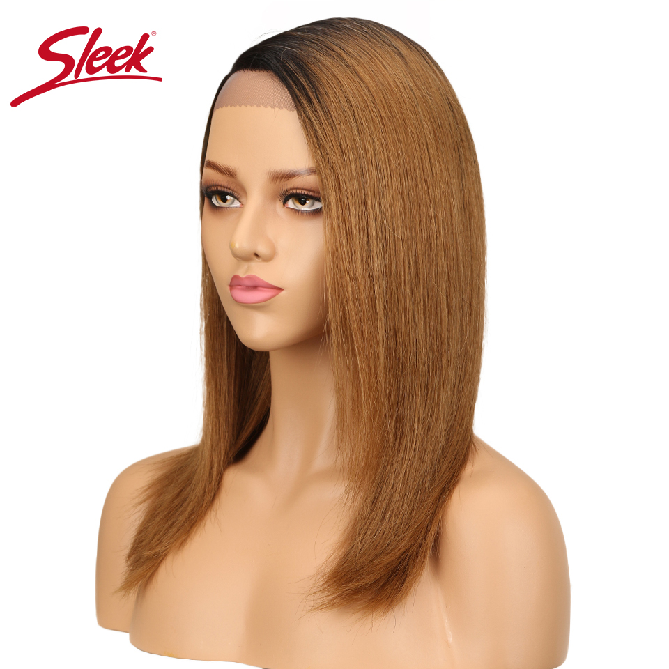 Sleek Human Hair Lace Wigs For Black Women Peruvian Remy Straight Hair Wig T1B 30 Color