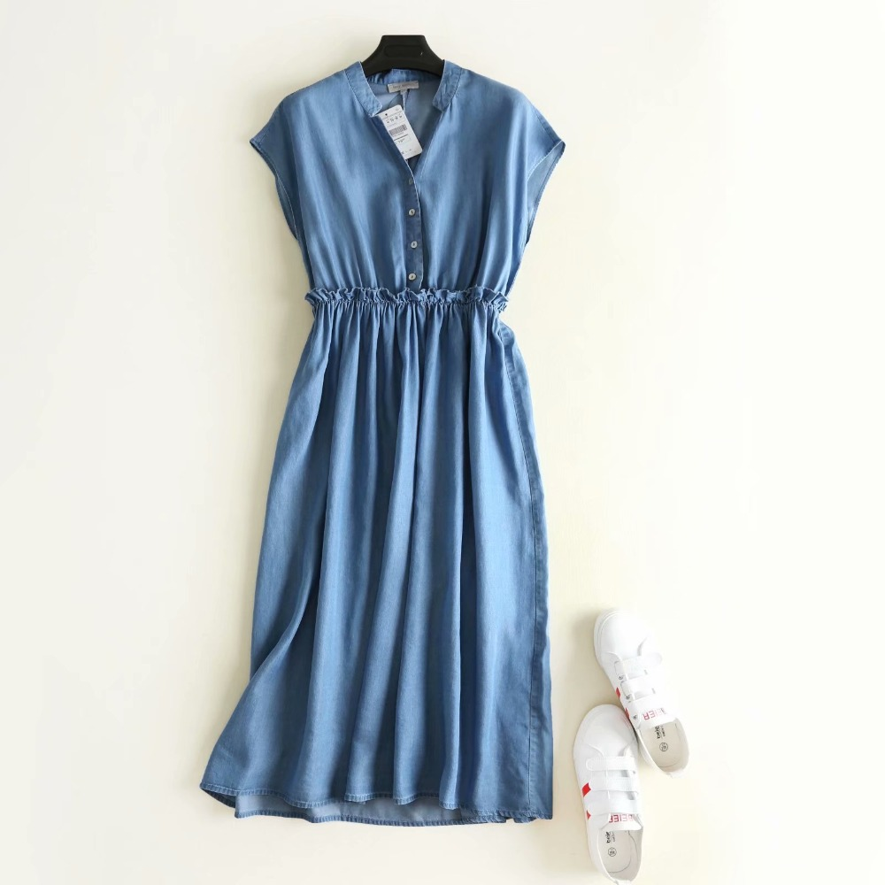 Simple solid color v neck sleeveless tank denim dress mori girl 2018 Summer