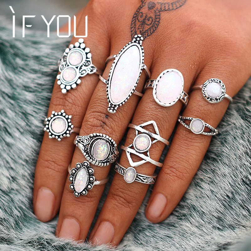 ԵԹԵ Vintage Lucky Stone Finger Midi Ring Set For Boh Gothic - Նորաձև զարդեր - Լուսանկար 5