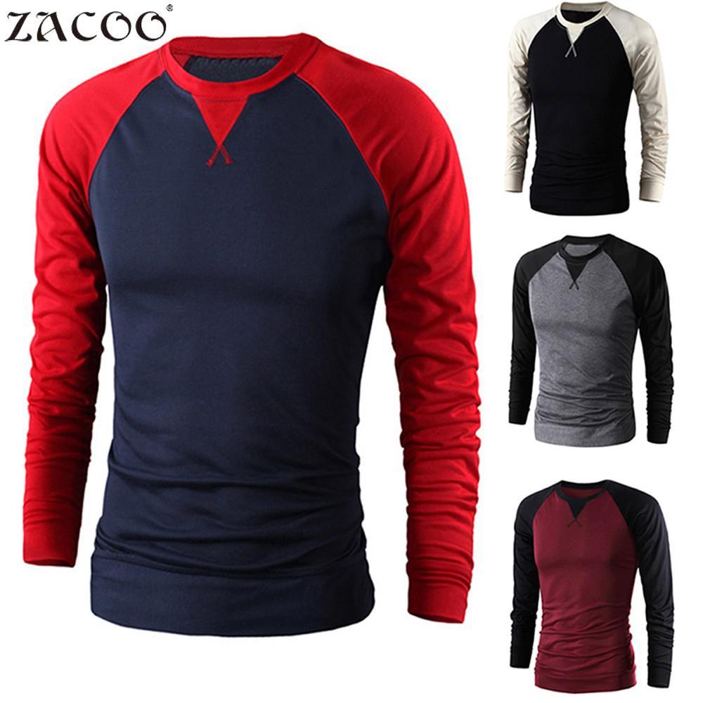 ZACOO Men Long Sleeve O-neck Baseball T Shirt Tees Causal Boys Autumn New Tops Casual Pullover Big Size Men T Shirt Si0