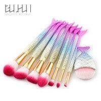 8Pcs Mermaid Shaped Makeup Brush Set Big Fish Tail Foundation Powder Makeup Brushes Eyeshadow Contour Blending