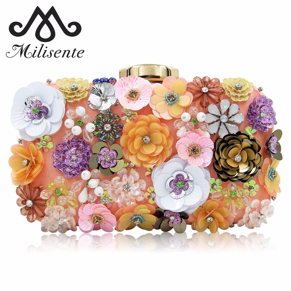 Milisente 2018 New Women Flower Clutches Beaded Clutch Bag Female Small Party Bags Wedding Clutch Purse milisente beaded embroidery tassel bags women party bag small evening clutches lady wedding clutch chain