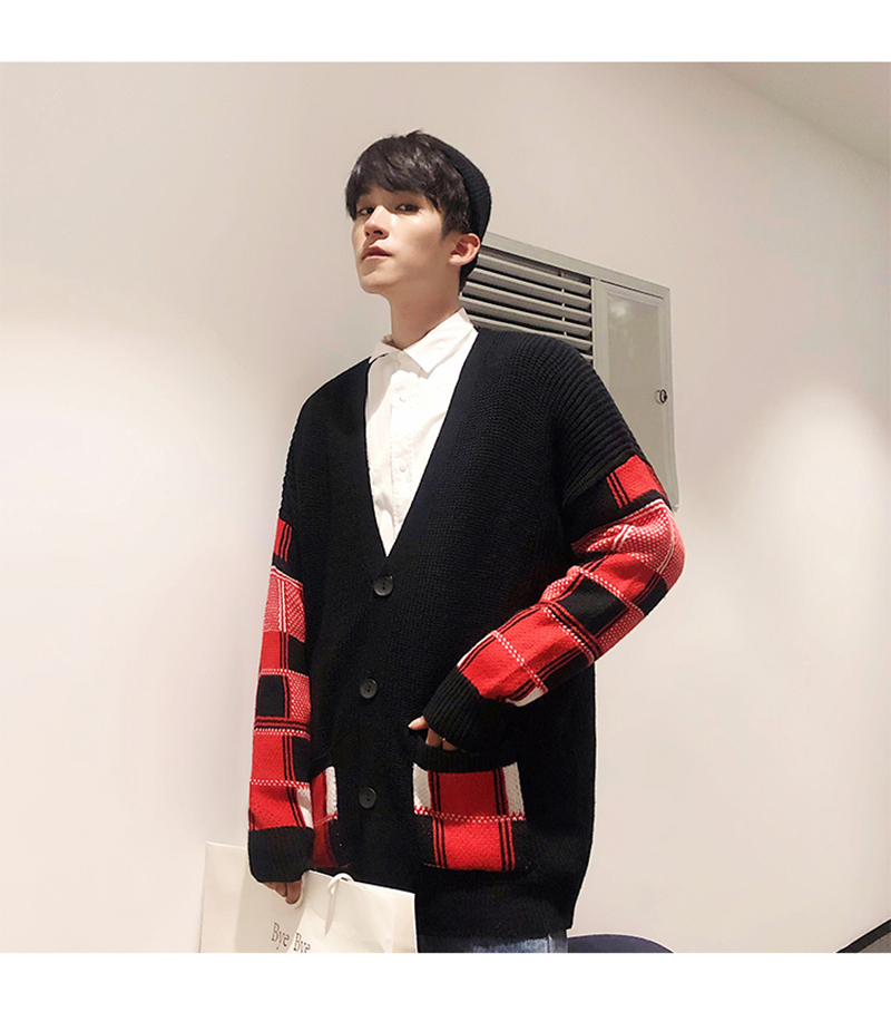 Korean Oversized Sweater Cardigan Men Plaid (21)