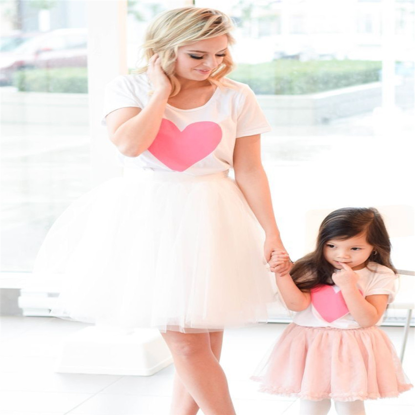 mother daughter tshirt+mesh dresses 2pcs mommy and me clothes family look matching outfits mom and daughter dress clothing setsmother daughter tshirt+mesh dresses 2pcs mommy and me clothes family look matching outfits mom and daughter dress clothing sets
