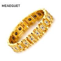 Meaeguet Luxury Hematite Stainless Steel Bracelet Bracelets&Bangles AAA CZ Chunky Link Chain Bracelet Men Jewelry Gold color