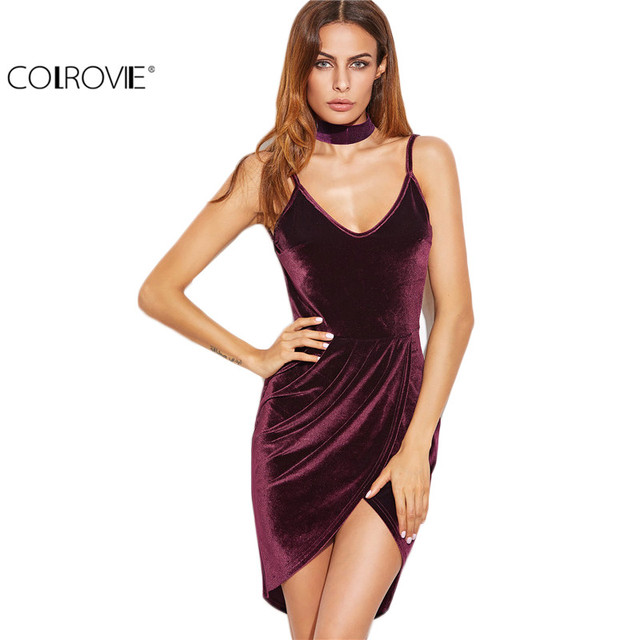 Bodycon Sexy Womens Dresses Party Night Club Dress Backless Ruched Velvet Wrap Cami Dress