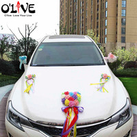 HOT Artificial Flower Wedding Car Decoration Knot Foam Roses Garland Ribbon Deco Car hart flowwer Fake Decorative Wreath